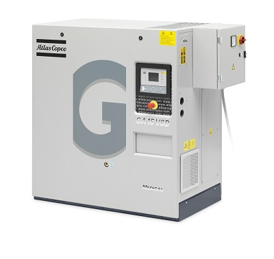 GA15 VSD MED Oil injected screw air compressor with integrated refrigerant dryer.