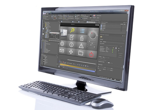 New wide screen computer monitor with keyboard and mouse, isolated in the studio against a w.hite background with a slight reflection.