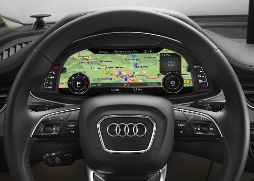 Virtual Cockpit  Verbrauchsangaben Audi Q7:Kraftstoffverbrauch in l/100km kombiniert: 8,3 ? 5,7;CO2-Emissionen in g/km kombiniert: 183 - 149