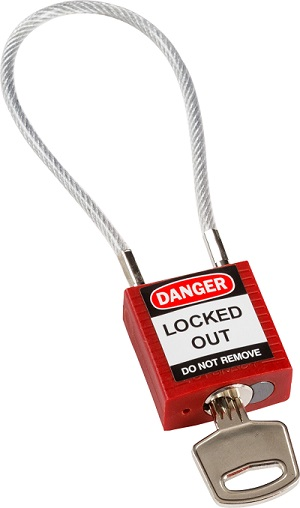 Brady 7458_compact cable safety padlock red with key_m