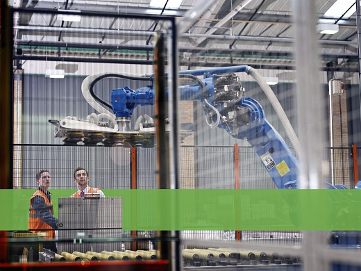 Warehouse Workers With Robot