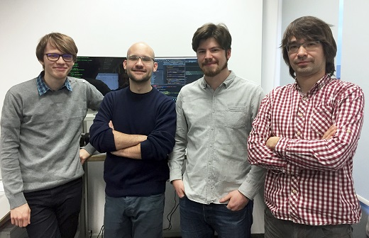 Java Script Developer Team w igus Polska. Od lewej: Michał Mrozek, Damian Hercuń, Jakub Mikiciuk, Mateusz Żeromski