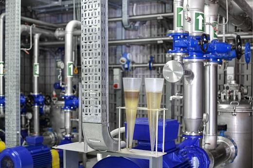 Das Pumpenhaus der biologischen Abwasserbehandlungsanlage